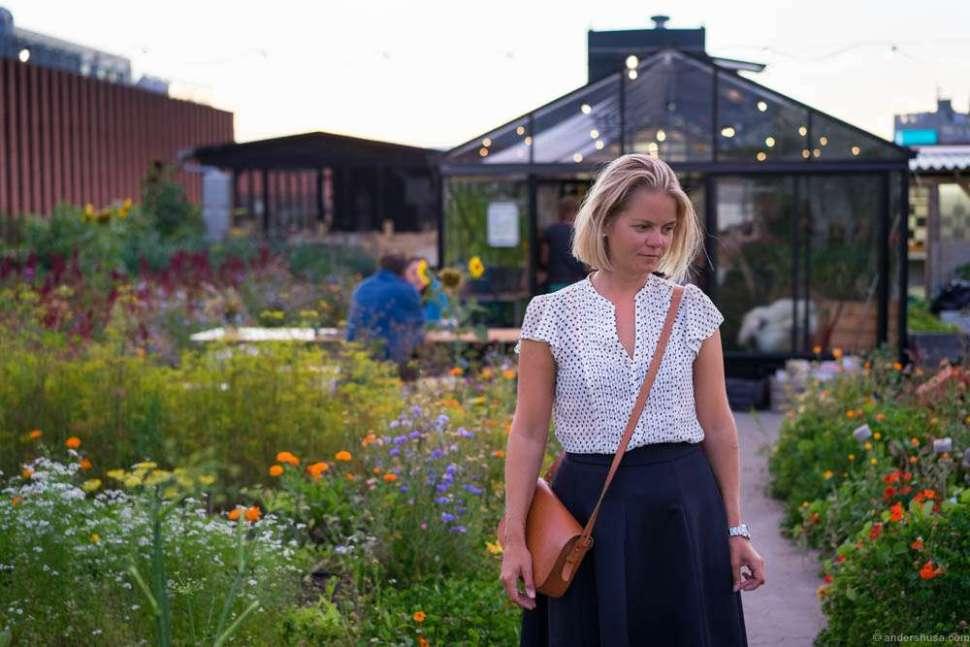 Linn wandering around in the garden