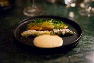 Arctic char, green asparagus, elderberries and fennel