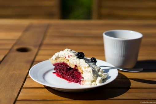 The best damn layer cake I ever ate. Blackberries and marzipan