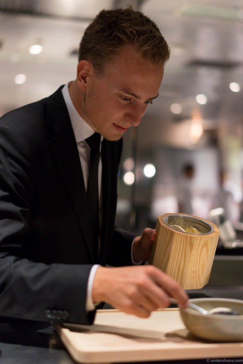 Benjamin plating the browned butter ice cream!