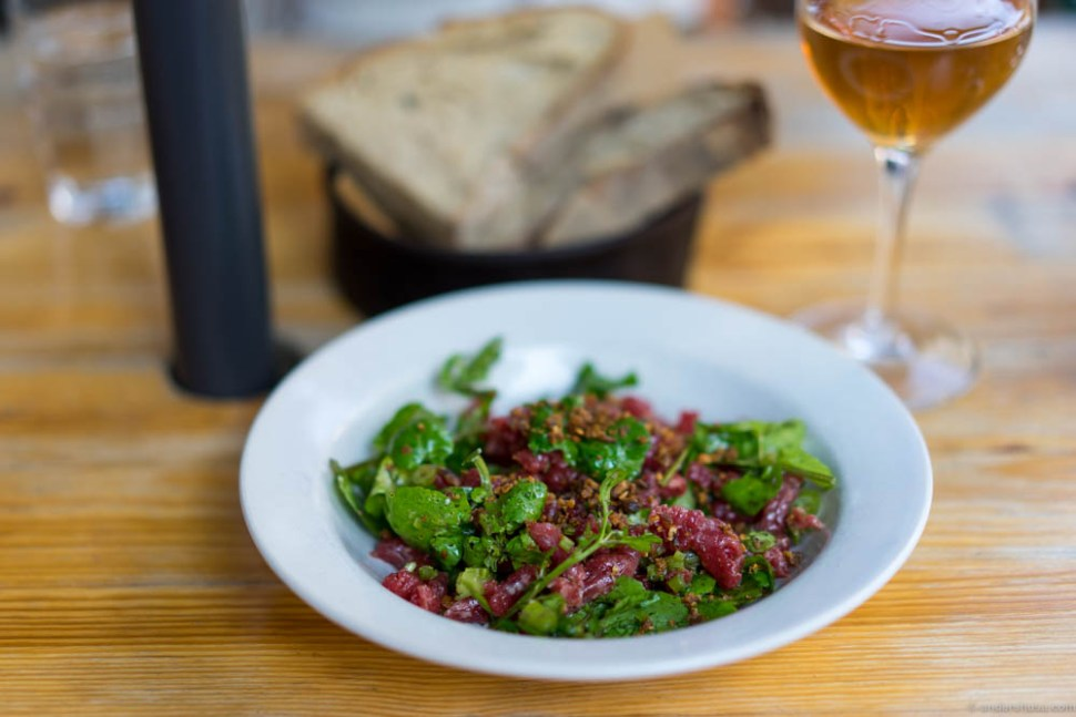 The famous Manfreds tartare with cress and crispy rye.