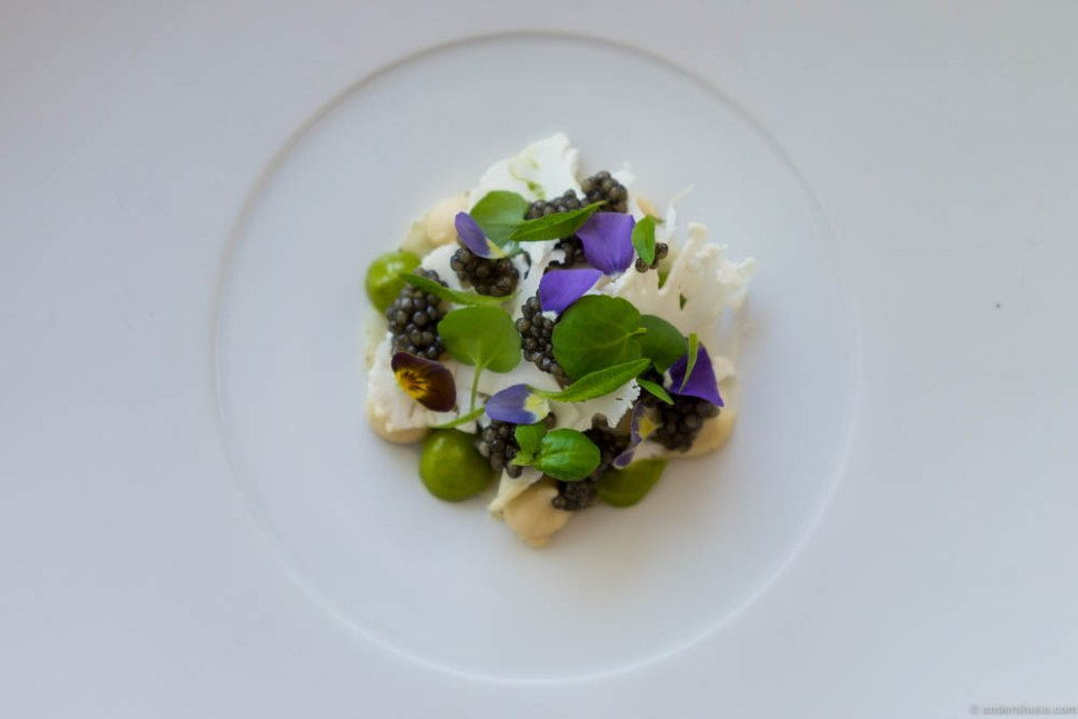 "Caviar ""Osietra"" with blini, lovage, and cauliflower."