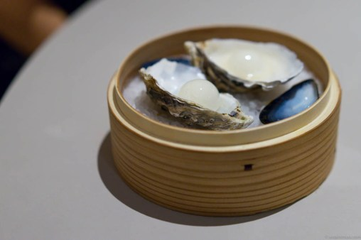 Oyster en surprise. A palate cleanser of a gin & tonic sphere