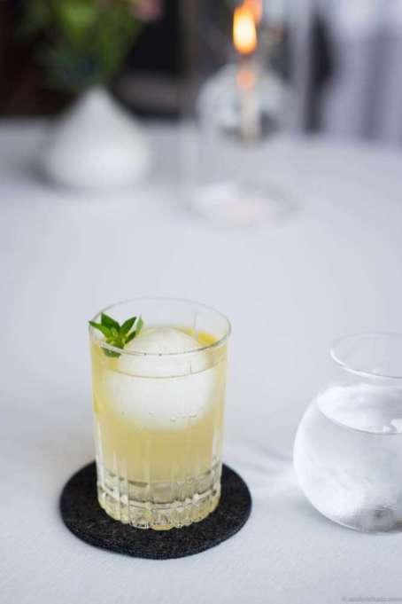 Geranium Gin & Tonic with sea buckthorn & lemon verbena