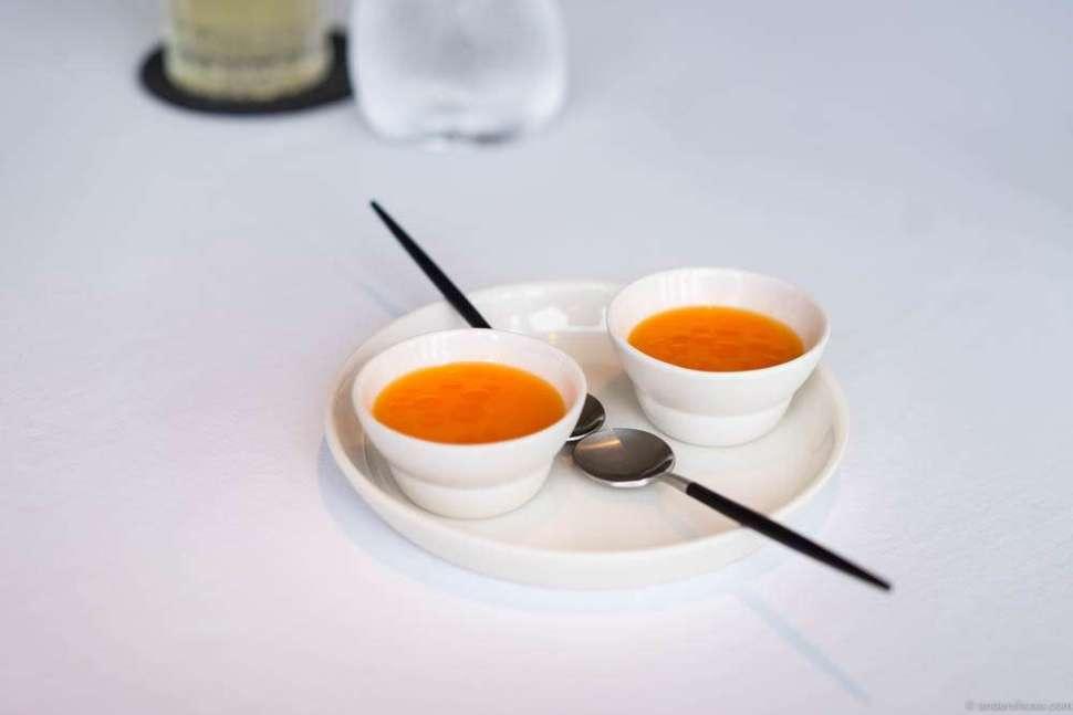 Danish lobster, silky milk, lemon verbena and juice from fermented carrots & sea buckthorn