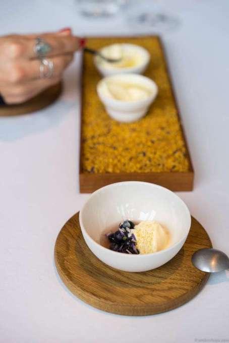 Ice cream of beeswax, pollen & honey with blueberries