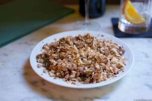 Rudo tartare with mushrooms and parsley