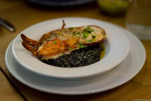 Squid ink risotto and lobster with butter