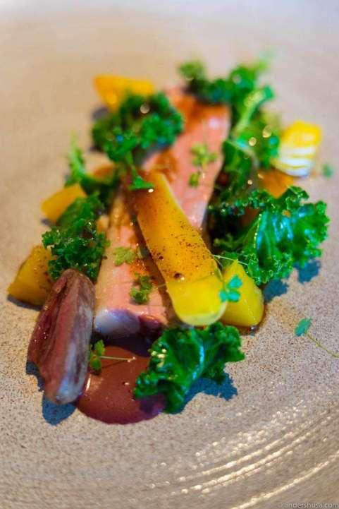 Duck breast, duck heart, beets, kale & blood sauce