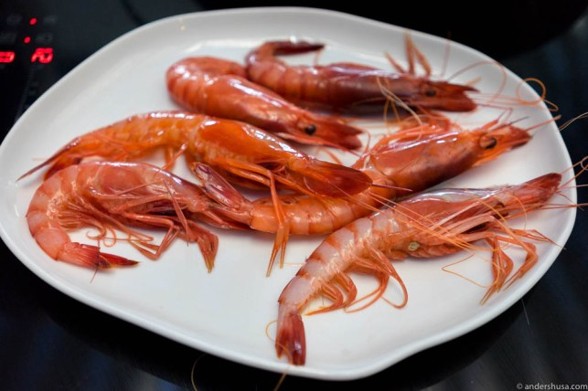 Dénia red king prawns boiled in salt water.
