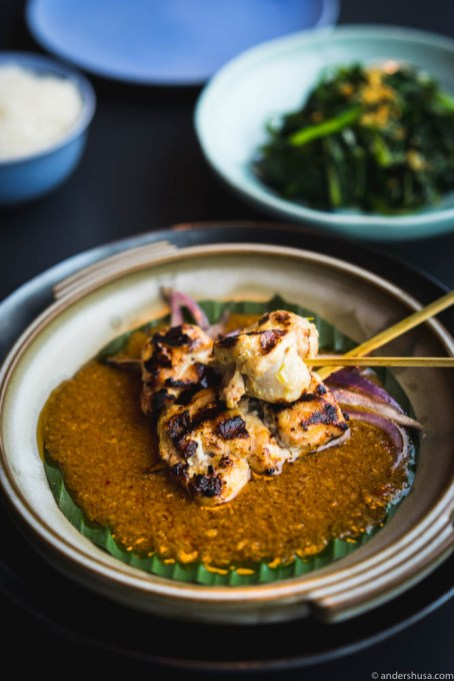 Charred chicken Satay skewers