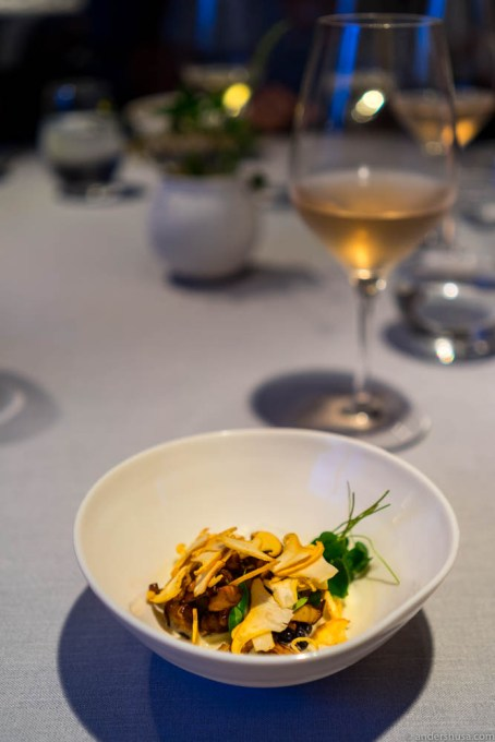 Flavors from the forest (raw and fried mushrooms), raw milk & fermented broth of mushrooms