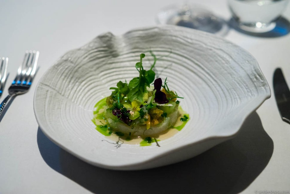 """Tartare of """"skrei,"""" cockles, chives and citrus vinaigrette & grilled bread."""