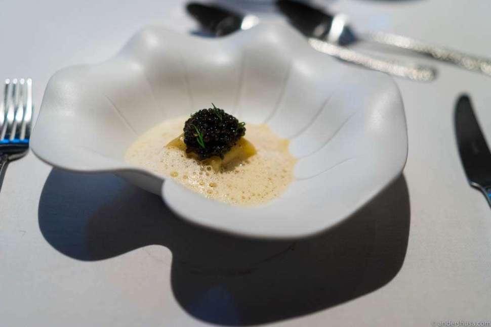 Agnolotti with langoustine claw meat, caviar & Coraline sauce.