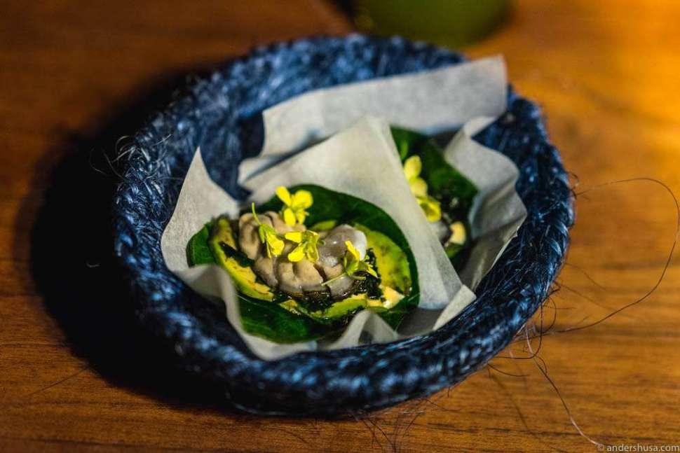 Chaya taco (local cabbage) with fresh Bahia Falsa oyster, avocado, habanero & mustard flower