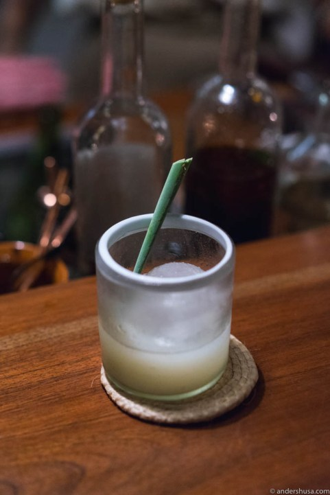 Noma Margarita with local lime, habanero oil & salty gooseberry water