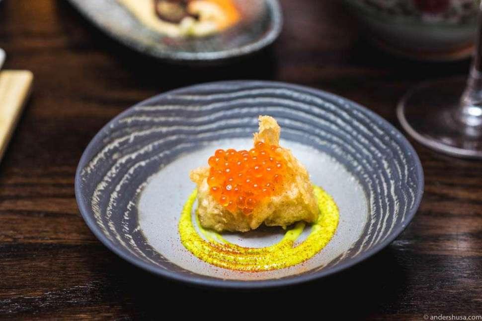 Monkfish cheeks tempura