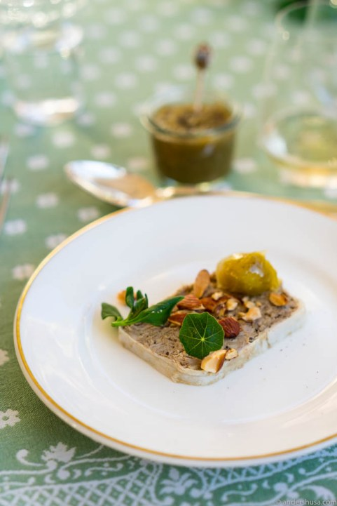 Paté of lamb with pickled green tomatoes
