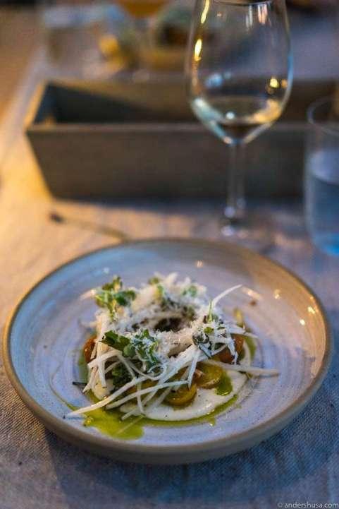 Tomatoes (sun dried and fresh), ricotta cream & parmesan