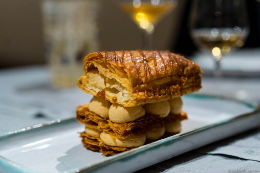 Mille-feuille with salty caramel mousse