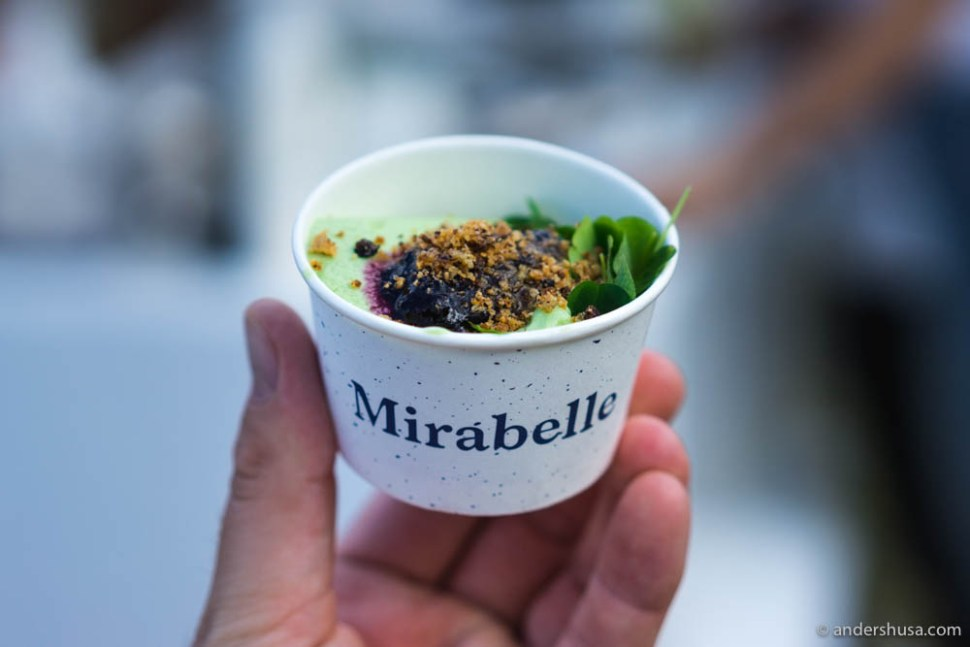 Mirabelle's wood sorrel ice cream with blueberries and crumble