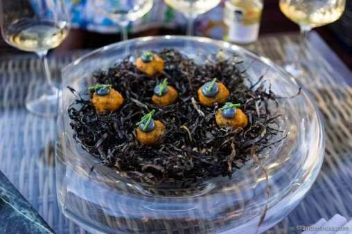 Shrimp croquettes with squid ink & lemon emulsion