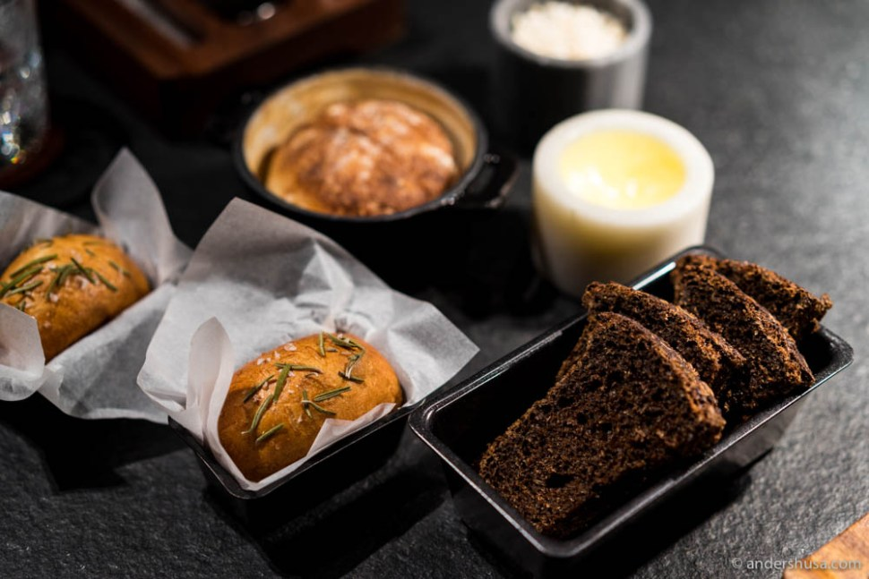 The bread & butter serving. Foccacia, sourdough, and rye (black bread) with artisan butter & pork fat with crackling