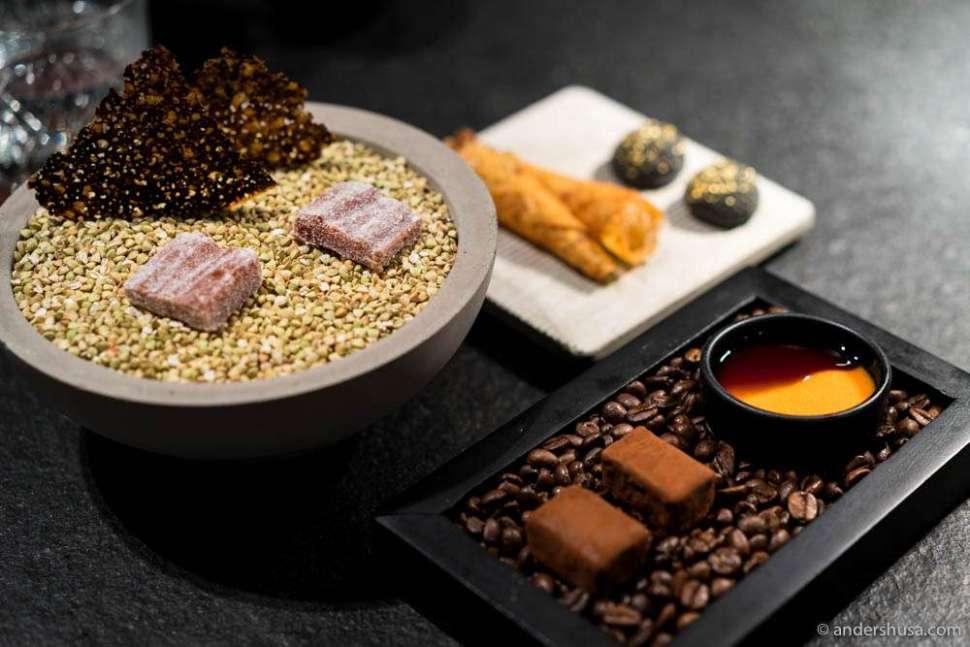 Petits fours: Chocolate, marzipan, rowan berries, tomato & kelp, and raisin
