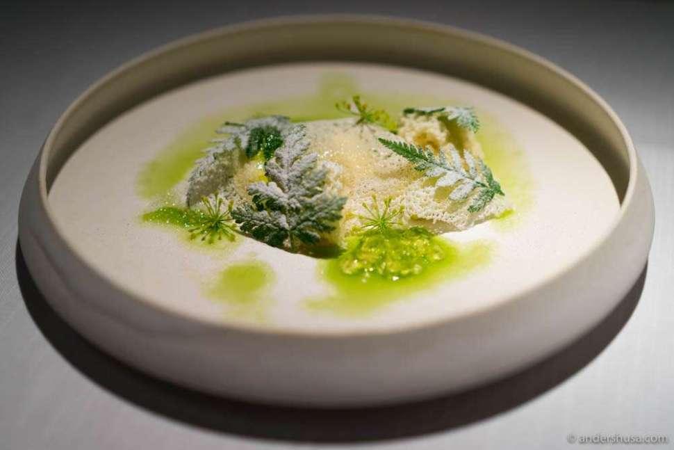 """Den hvite dame"" (Danish cheese), almond sponge cake, Spanish chervil, fennel pollen & dehydrated yogurt"
