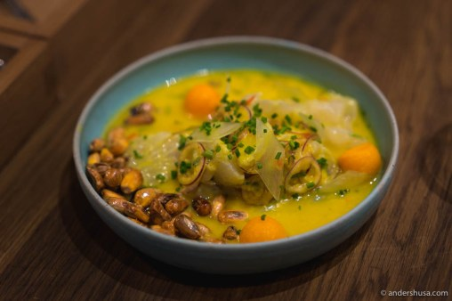 Ceviche de Ají Amarillo (chili) with cancha (deep-fried corn) from Peru