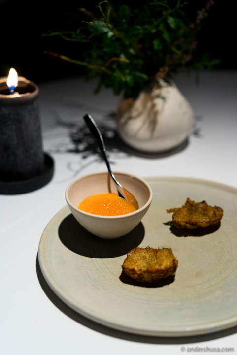 Tempura of Jerusalem artichoke with vendace roe and raw milk yoghurt