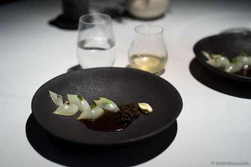 Grille onions, caviar, and lemon verbena by Fredrik Berselius