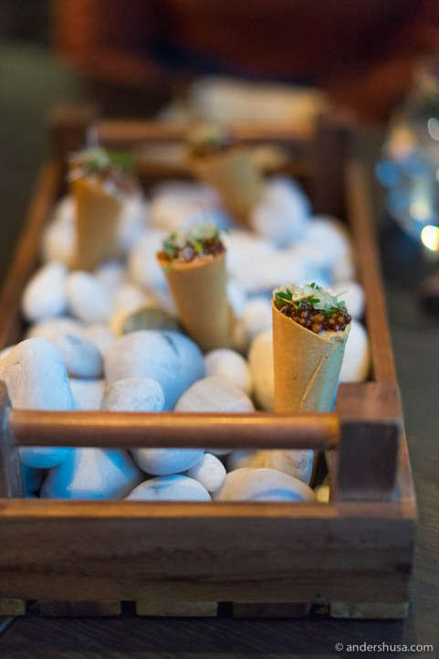 Cornets with scallops tartare and finger lime