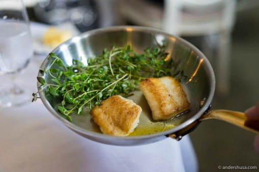 The turbot was presented tableside before it was served