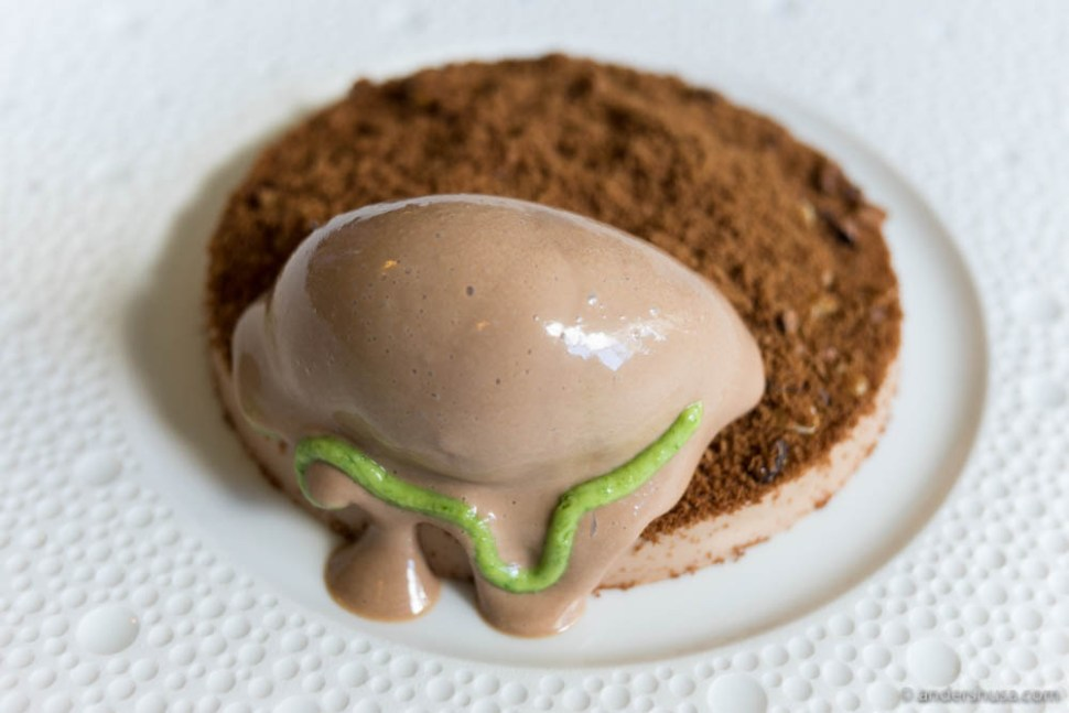 The tavern's chocolate mousse, with arugula ganache, roasted walnuts, dehydrated chocolate & chocolate sorbet