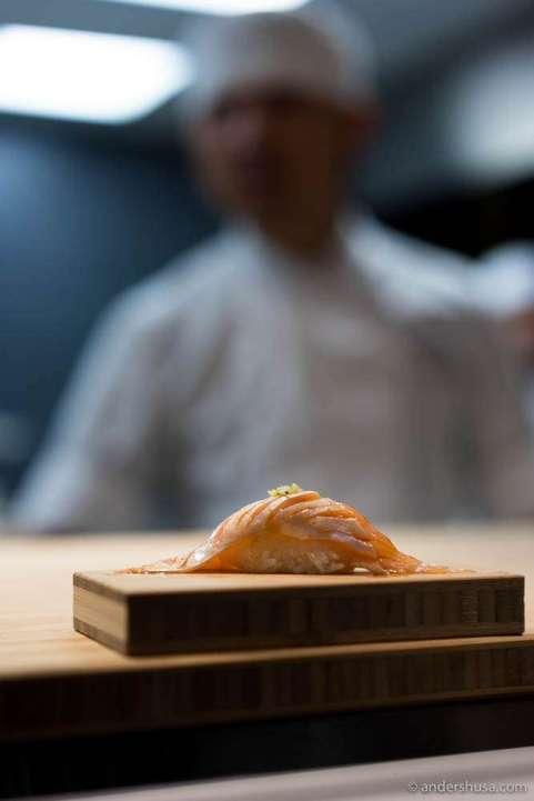 Salmon belly with kimchi & teriyaki