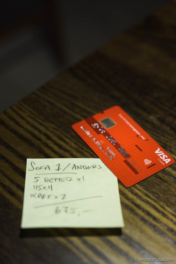 The bill at Ancestrale comes on a yellow post-it note.