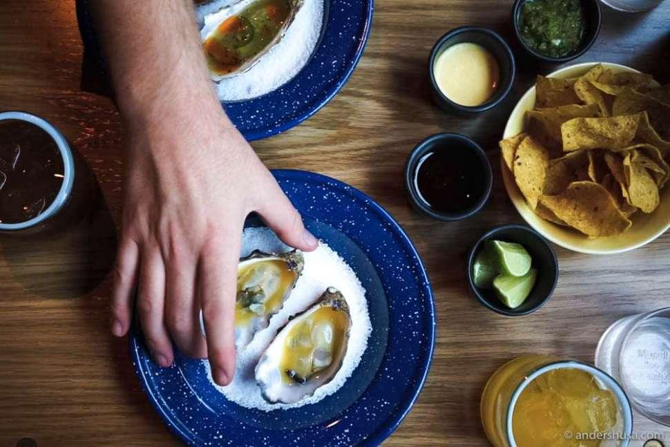 Oysters with sea buckthorn & habanero