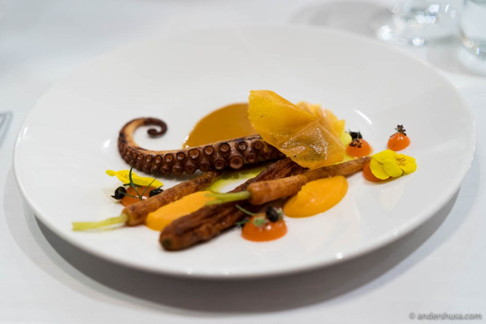 Rehydrated carrot, butternut pumpkin, bergamot, octopus & saffron