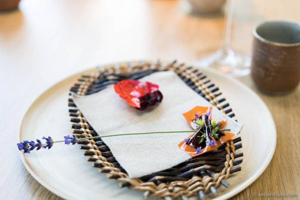 Flower tart: A tart shell of potato with nasturtium, lovage, and rose. Fruit leather: A fruit leather of sea buckthorn, carrot, and blackcurrant
