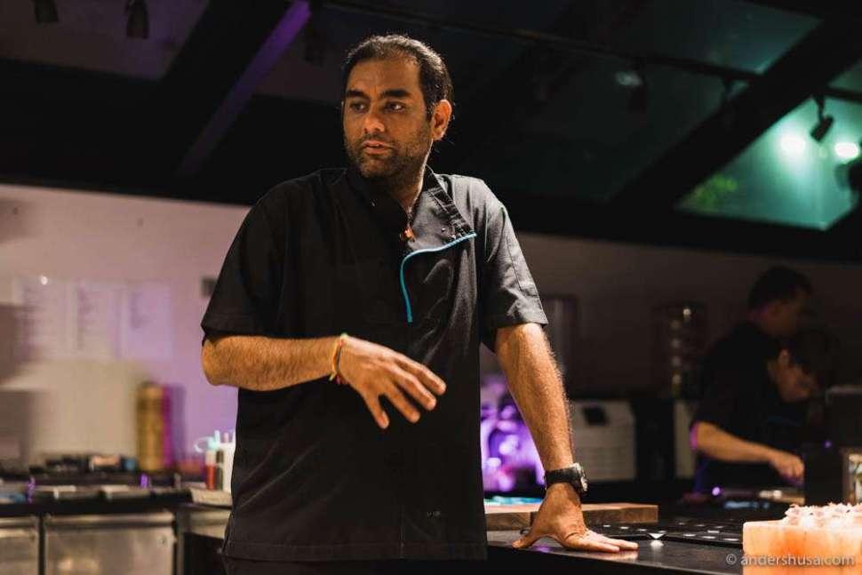 Gaggan Anand, aka the Nutty Professor, in the lab of restaurant Gaggan