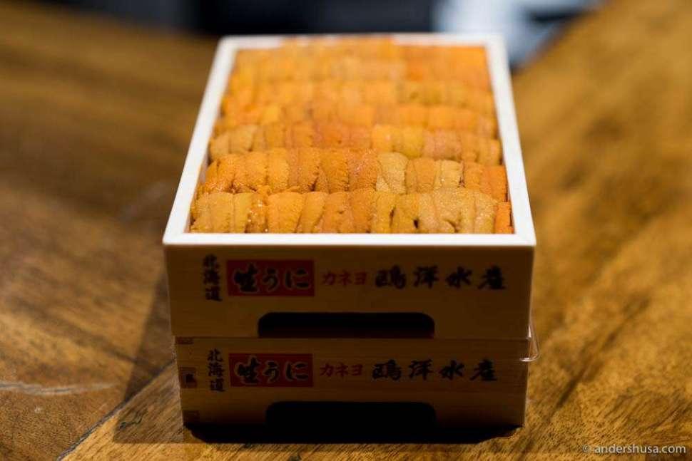 Boxes of uni – sea urchins from Hokkaido