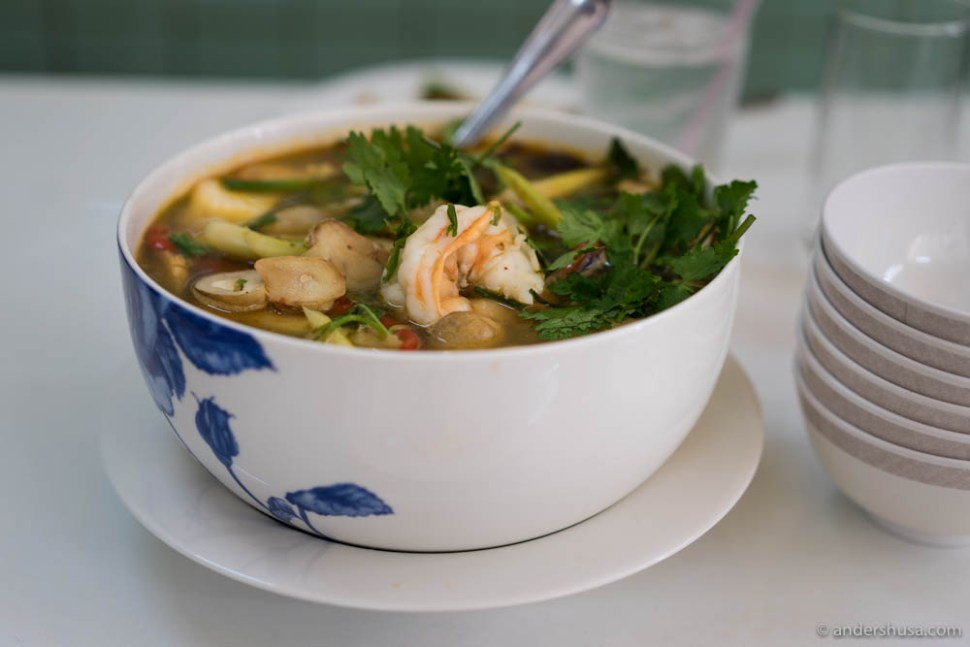 Tom-Yum Goong – traditional hot and spicy Thai soup with prawns