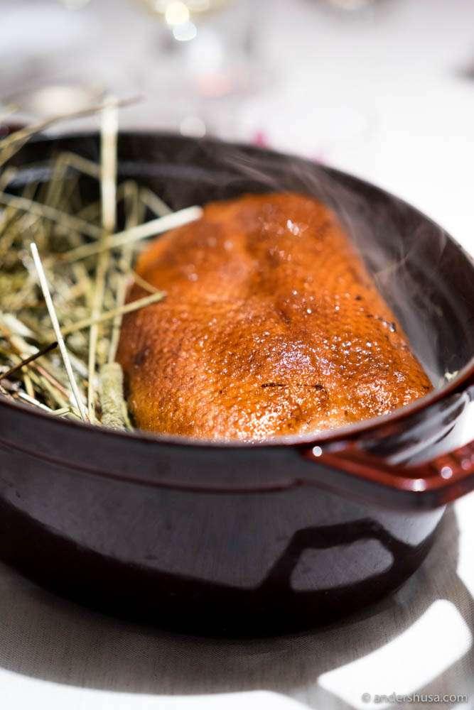 Hay-smoked duck
