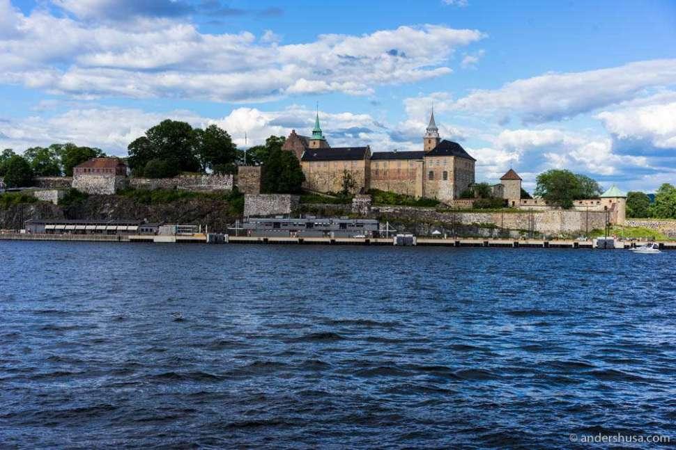 Approaching Oslo again. Akershus Festning in the back