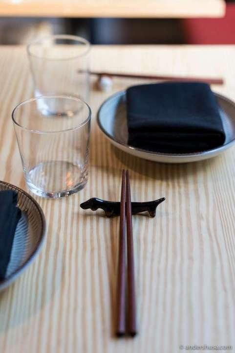 Dog chopstick holder
