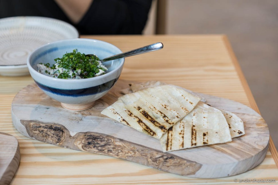 Grilled flatbreads with mackerel salad
