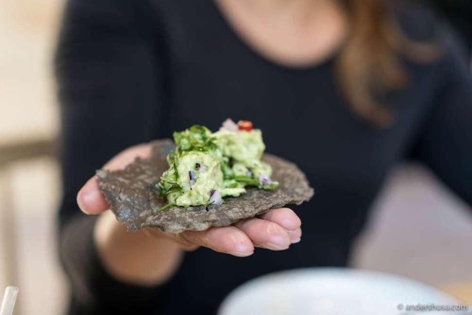 Incredibly crispy tostada and a super fresh avocado mix