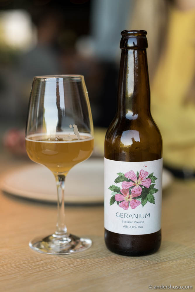 Noma's own beer – ironically called Geranium