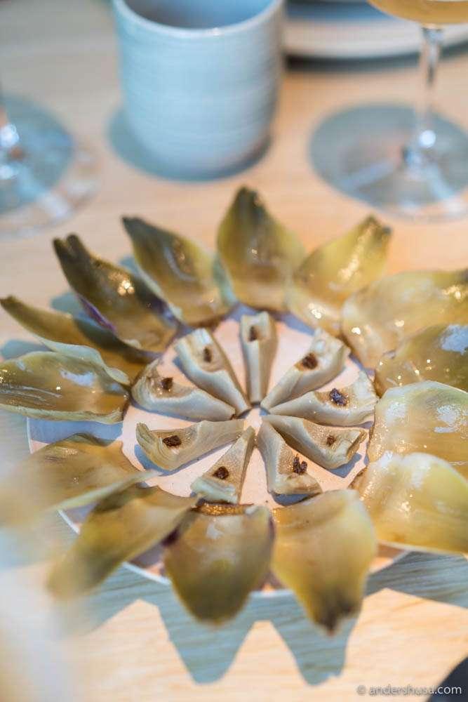 Boiled artichoke, leaves and heart